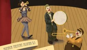 Three clowns on a poster
