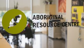 A graphic on the front window of the Aboriginal Resource Centre at Humber College