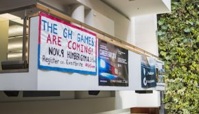 "poster of the GH games hanging on the balcony ""THE GH GAMES ARE COMING! NOV.9 HUMBER GYM"""